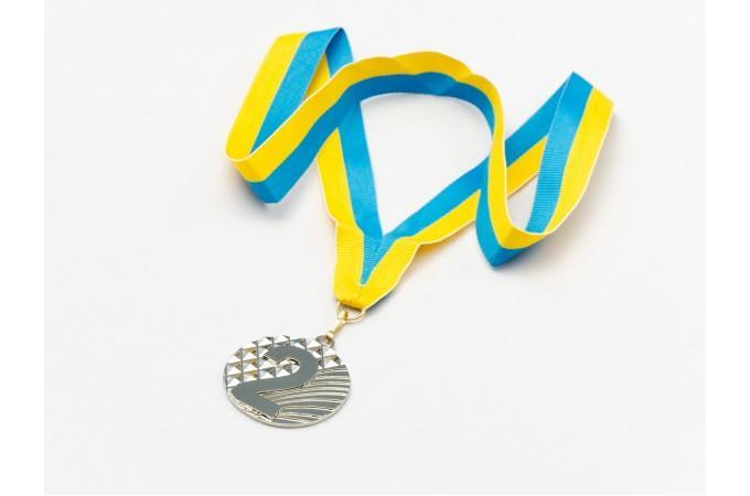 Медаль наградная для бильярда Ромб с лентой (2 место, серебро)  ø5см