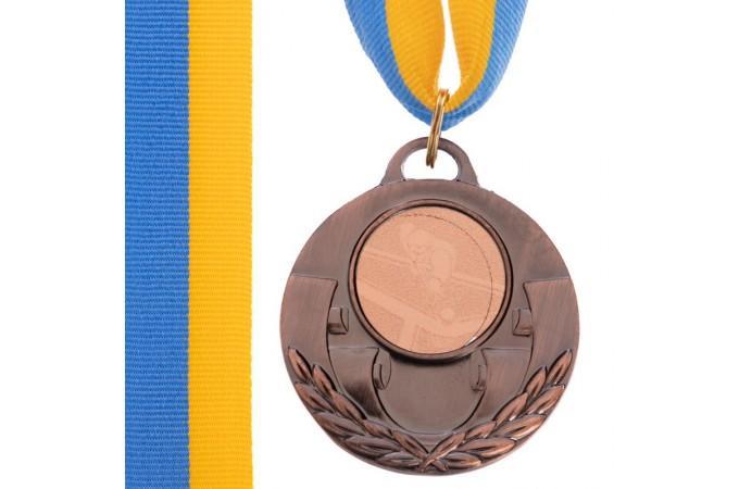 Медаль наградная для бильярда AIM с лентой (3 место, бронза)  ø5см