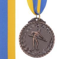 Медаль наградная для бильярда Бильярдист с лентой (3 место, бронза)  ø5см