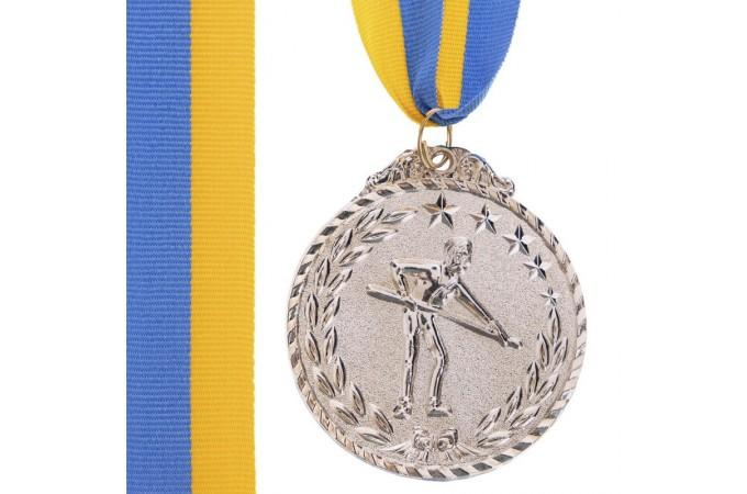 Медаль наградная для бильярда Бильярдист с лентой (2 место, серебро)  ø5см