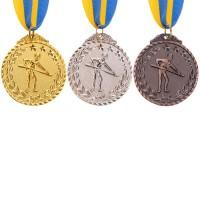 Комплект медалей наградных Бильярдист с лентой (1, 2, 3 место)  ø5см