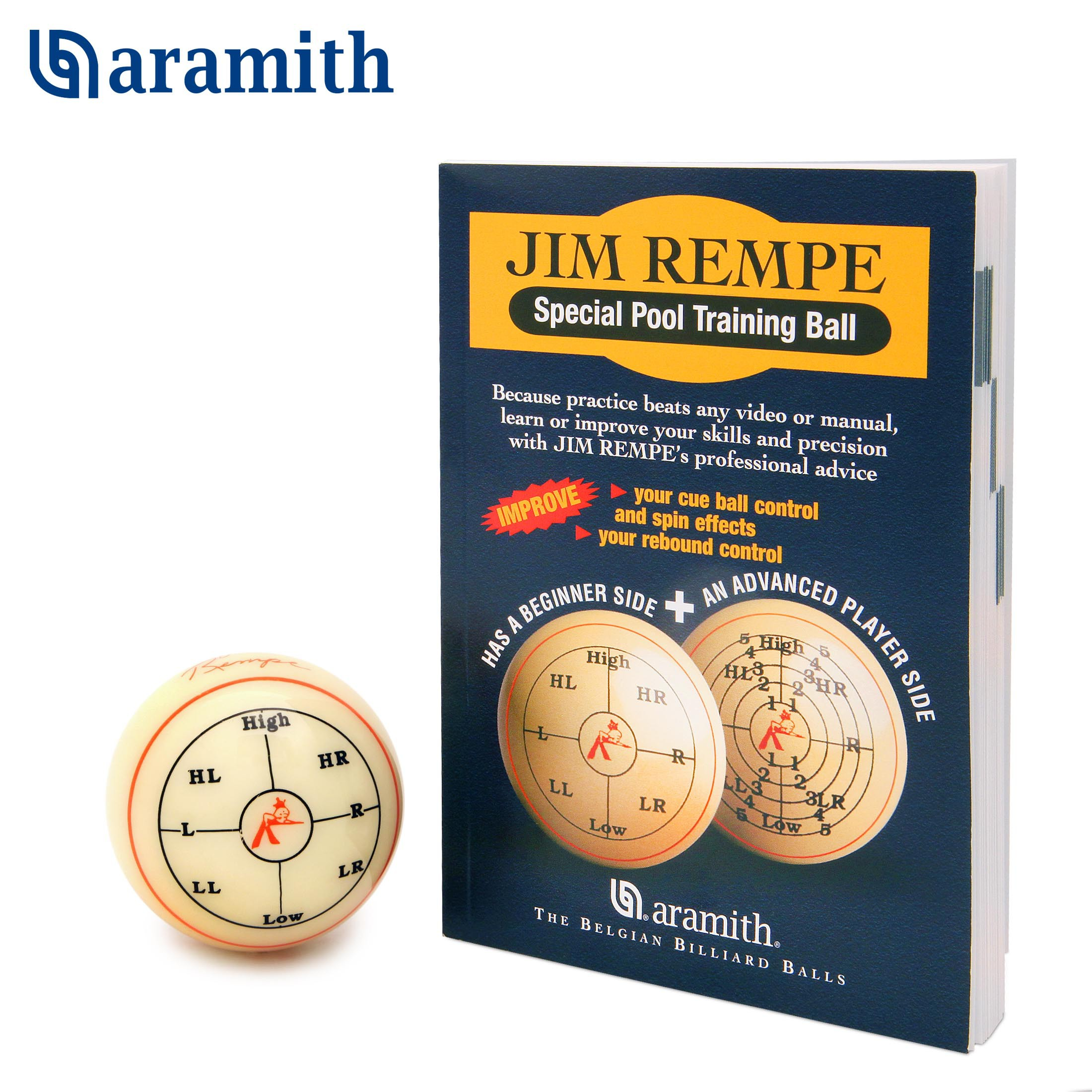 Тренировочный шар для пула Aramith Jim Rempe Pool ø57,2мм блистер