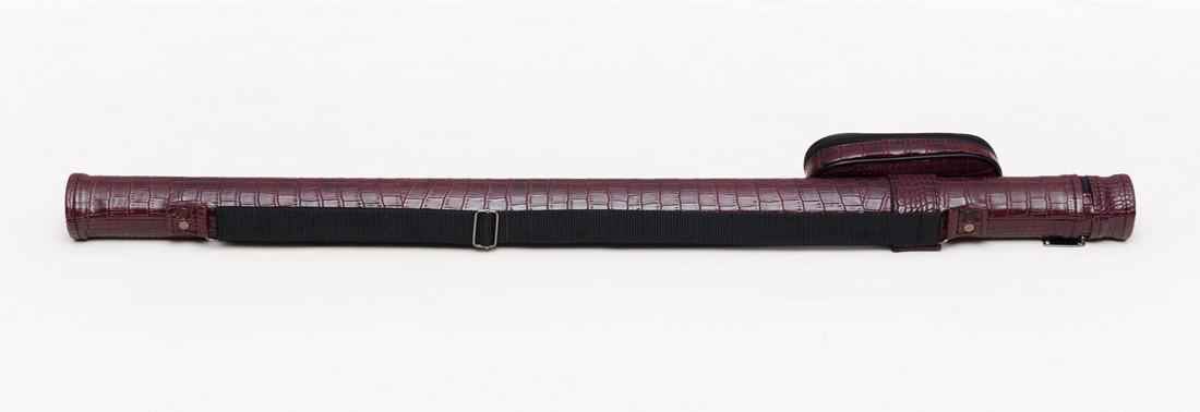 Тубус для бильярдного кия из кожзаменителя Бордовый Крокодил с карманом