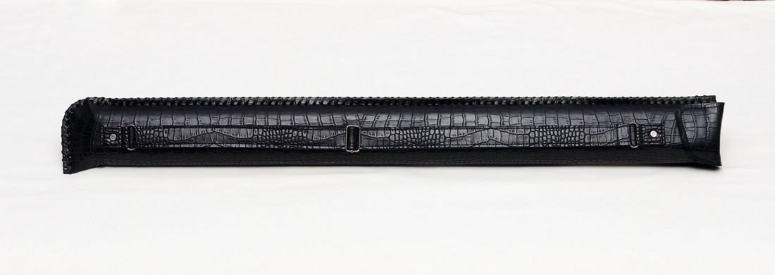 Колчан для кия черный крокодил с карманом под удлинитель