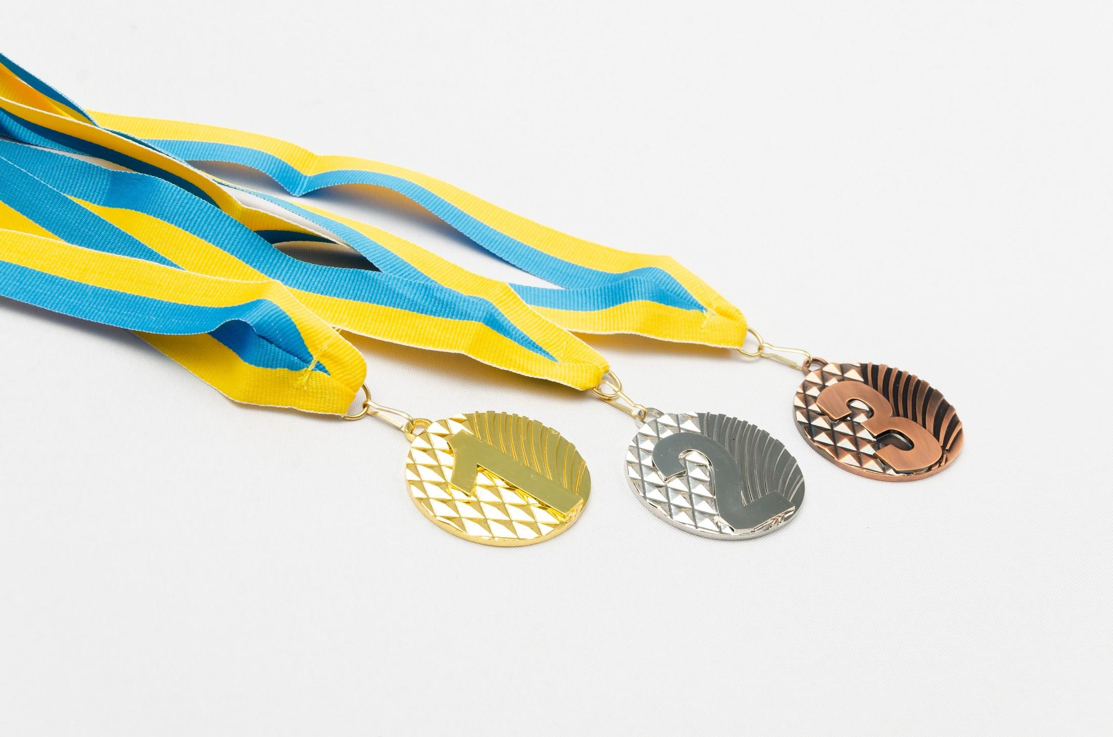 Комплект медалей наградных Ромб с лентой (1, 2, 3 место)  ø5см