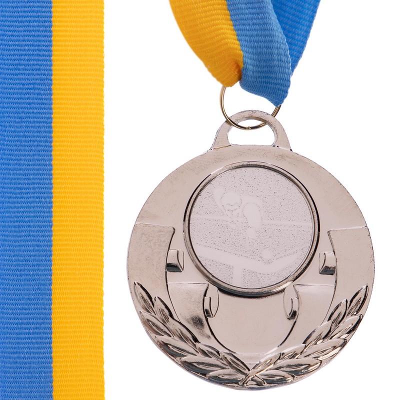Медаль наградная для бильярда AIM с лентой (2 место, серебро)  ø5см