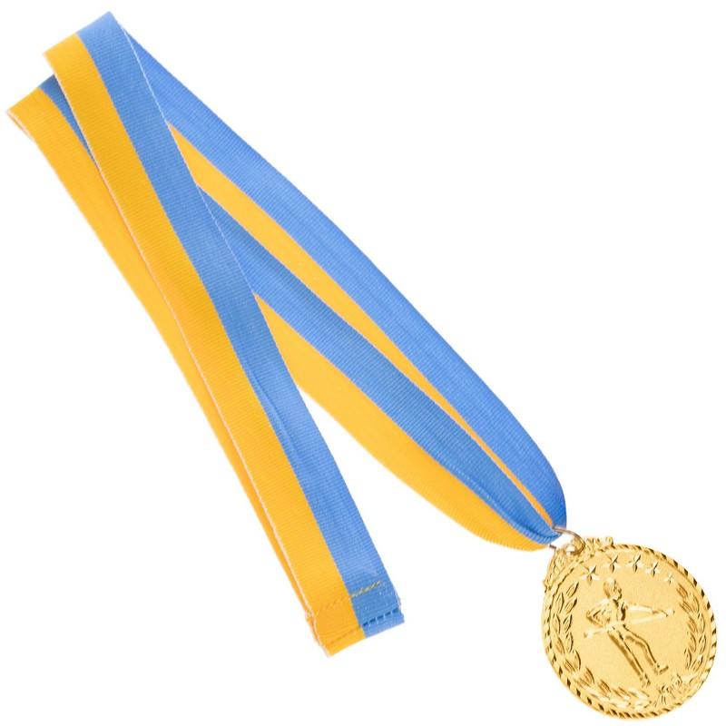 Медаль наградная для бильярда Бильярдист с лентой (1 место, золото)  ø5см