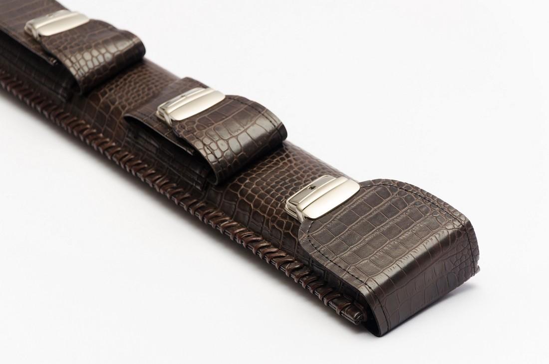 Колчан для кия шоколад крокодил с карманом под удлинитель
