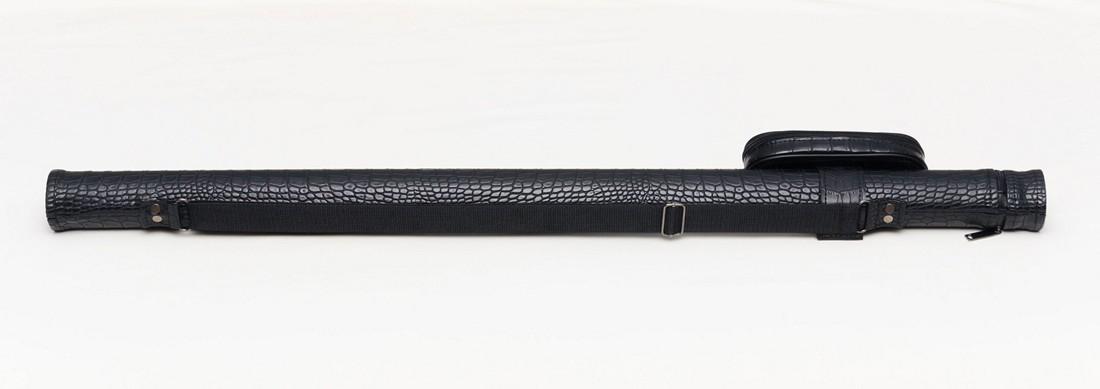 Тубус для бильярдного кия из кожзаменителя Черный Крокодил с карманом