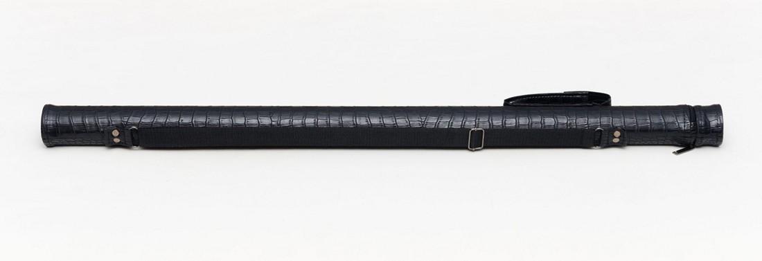 Тубус для бильярдного кия из кожзаменителя Черный крокодил Кнопка