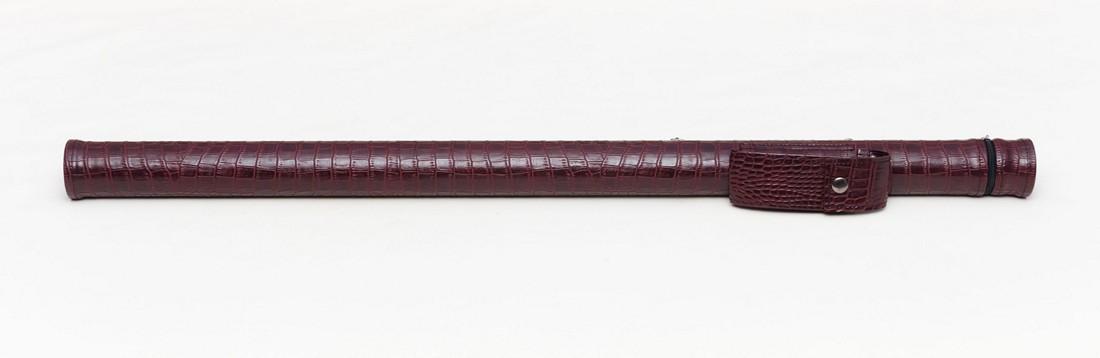 Тубус для бильярдного кия из кожзаменителя Бордовый крокодил Кнопка