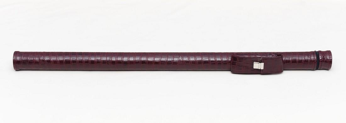 Тубус для бильярдного кия из кожзаменителя Бордовый крокодил Замок