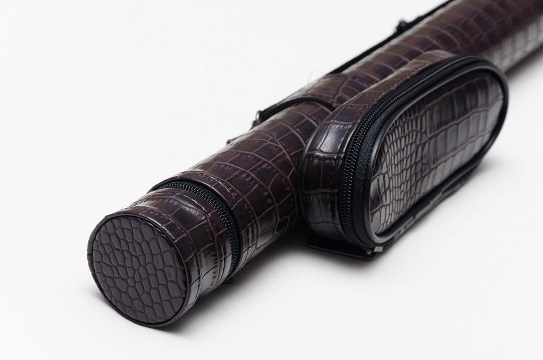 Тубус для бильярдного кия из кожзаменителя Шоколад Крокодил с карманом