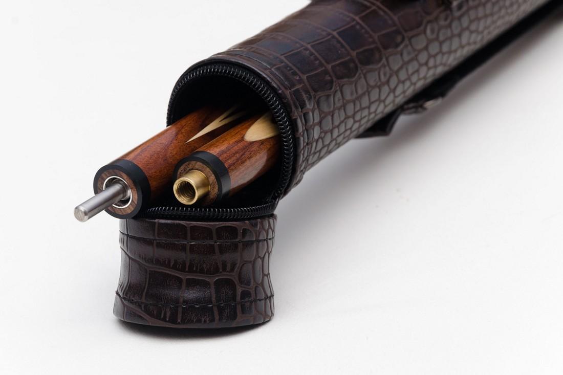 Тубус для бильярдного кия из кожзаменителя Шоколад крокодил Кнопка