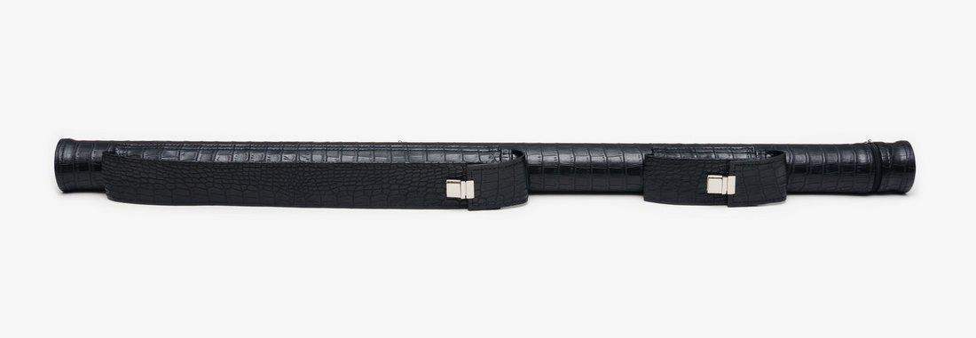 Тубус для бильярдного кия из кожзаменителя Черный Крокодил с карманом под удлинитель