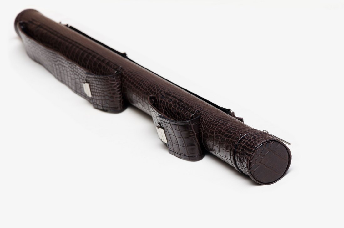 Тубус для бильярдного кия из кожзаменителя Шоколад Крокодил с карманом под удлинитель