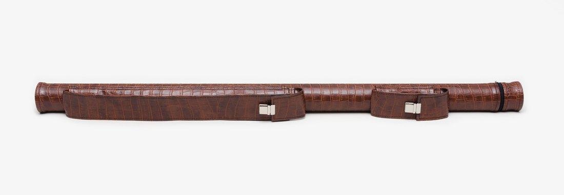 Тубус для бильярдного кия из кожзаменителя Экзотик Крокодил с карманом под удлинитель