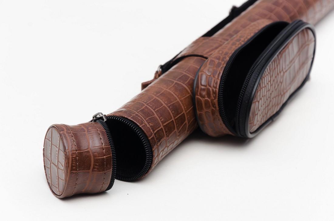 Тубус для бильярдного кия из кожзаменителя Экзотик Крокодил с карманом